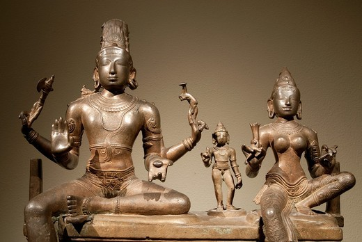 Shiva, Uma, and their Son Skanda, Somaskandamurti, early 11th century, Chola period, Copper alloy H  29 7/8 in  53 cm, W  21 7/8 in  55 6 cm, D  10 1/4 in  26 2 cm, Metropolitan Museum of Art, New York City : Stock Photo