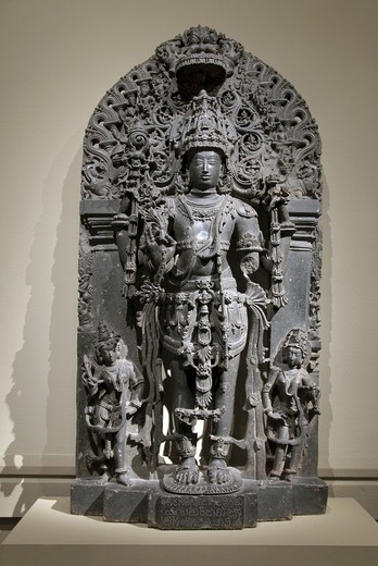 Stock Photo: 1566-773122 Standing Vishnu as Keshava, Hoysala period, 1022–1346, first quarter of 12th century, Karnataka, probably Belur, India, Stone, H  56 1/2 in  143 5 cm, Metropolitan Museum of Art, New York City