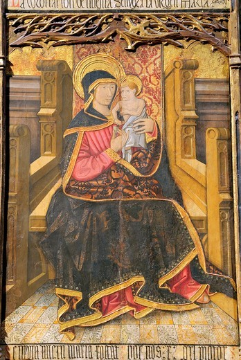 Altarpiece, Virgin and Child Enthroned with Scenes from the Life of the Virgin, Morata Master, Spanish, Aragonese, late 15th century, Tempera and gold on wood Central panel, Metropolitan Museum of Art, New York City : Stock Photo