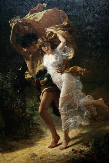 Detail: The Storm,1880, by Pierre-Auguste Cot, French, 1837–1883, Oil on canvas 92 1/4 x 61 3/4 in , 234 3 x 156 8 cm, Metropolitan Museum of Art, New York City, Note: Signed and dated lower left: P+A+COT+1880 : Stock Photo