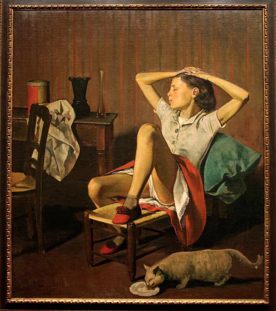 Stock Photo: 1566-773271 Thérèse Dreaming, 1938, by Balthus, Balthazar Klossowski, French, Oil on canvas H  59, W  51 inches, 150 x 130 cm , Metropolitan Museum of Art, Modern Art Galleries, New York City,