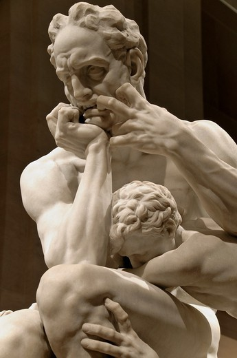 Detail: Ugolino and His Sons, modeled ca  1860–61, executed in marble 1865–67, by Jean-Baptiste Carpeaux French, 1827–1875, Saint-Béat marble, H  77 in , 195 6 cm, Metropolitan Museum of Art , New York City, Note: The sculpture is based on Dante´s Divine. Detail: Ugolino and His Sons, modeled ca  1860–61, executed in marble 1865–67, by Jean-Baptiste Carpeaux French, 1827–1875, Saint-Béat marble, H  77 in , 195 6 cm, Metropolitan Museum of Art , New York City, Note: The sculpture is based on Dant : Stock Photo