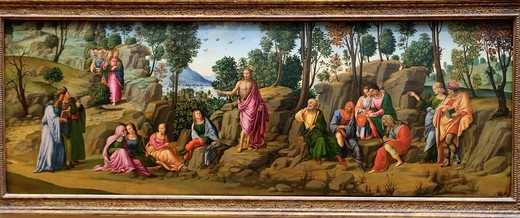 Saint John the Baptist Bearing Witness, ca 1510, Workshop of Francesco Granacci, Italian, Florentine, 1469–1543, Oil and gold on wood, 29 3/4 x 82 1/2 in 75 6 x 209 6 cm, Metropolitan Museum of Art, New York City, : Stock Photo