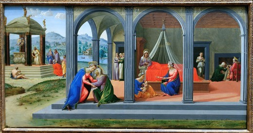 Scenes from the Life of Saint John the Baptist, ca 1510, Francesco Granacci, Francesco di Andrea di Marco, Italian, Florentine, 1469–1543, Tempera, oil, and gold on wood, 30 9/16 x 59 1/2 in 77 6 x 151 1 cm, Metropolitan Museum of Art, New York City : Stock Photo