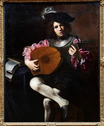 The Lute Player, ca  1626, by Valentin de Boulogne, French, 1591–1632, Oil on canvas, 50 1/2 x 39 in , 128 3 x 99 1 cm, Metropolitan Museum of Art , New York City, : Stock Photo