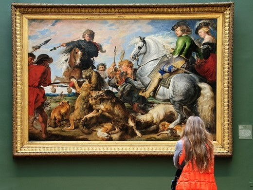 Stock Photo: 1566-773396 Wolf and Fox Hunt, ca 1615–21, by Peter Paul Rubens and Workshop, Flemish, 1577–1640, Oil on canvas, 96 5/8 x 148 1/8 in 245 4 x 376 2 cm, Metropolitan Museum of Art, New York City