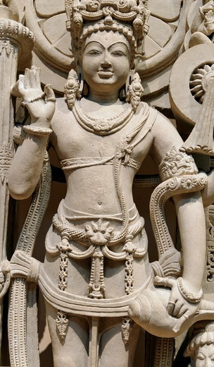 Stock Photo: 1566-773404 Detail: Vishnu, 10th–11th century, India, Punjab, Sandstone Gr  H  43 1/2 in , 110 5 cm, W  25 5/8 in , 65 1 cm, D  10 in , 25 4 cm, Metropolitan Museum of Art, New York City,