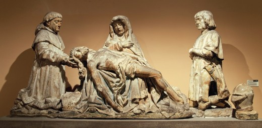 Pietà with Donors, ca  1515, French, Made in Biron, Perigord, Limestone, traces of polychromy Overall: 43 3/8 x 92 1/2 x 22 in , 110 2 x 235 x 55 9 cm, Metropolitan Museum of Art, New York City, : Stock Photo