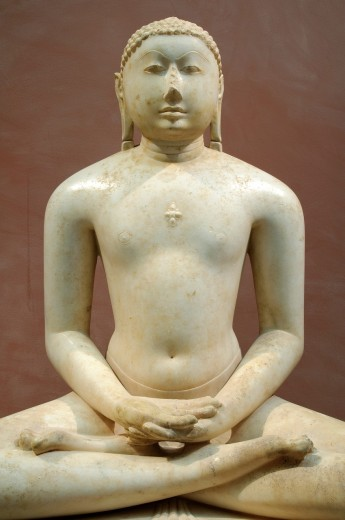 Detail: Jain Svetambara Tirthankara in Meditation, Seated on a Throne Cushion, India, Gujarat or Rajasthan culture, first half of the 11th century, Solanki period, Marble H  39 in  99 cm, Metropolitan Museum of Art, New York City, : Stock Photo
