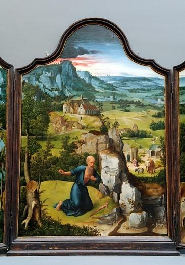 Stock Photo: 1566-773545 Detail: The Penitence of Saint Jerome, ca  1518, by Joachim Patinir, Netherlandish, Metropolitan Museum of Art, New York City
