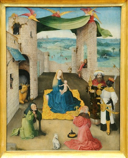 Stock Photo: 1566-773550 The Adoration of the Magi, by Hieronymus Bosch, Netherlandish, Oil and gold on wood, 28 x 22 1/4 in , 71 1 x 56 5 cm, Metropolitan Museum of Art, New York City