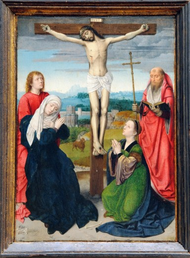 The Crucifixion, ca  1495–1500, by Gerard David, Netherlandish, Oil on wood, Metropolitan Museum of Art, New York City : Stock Photo