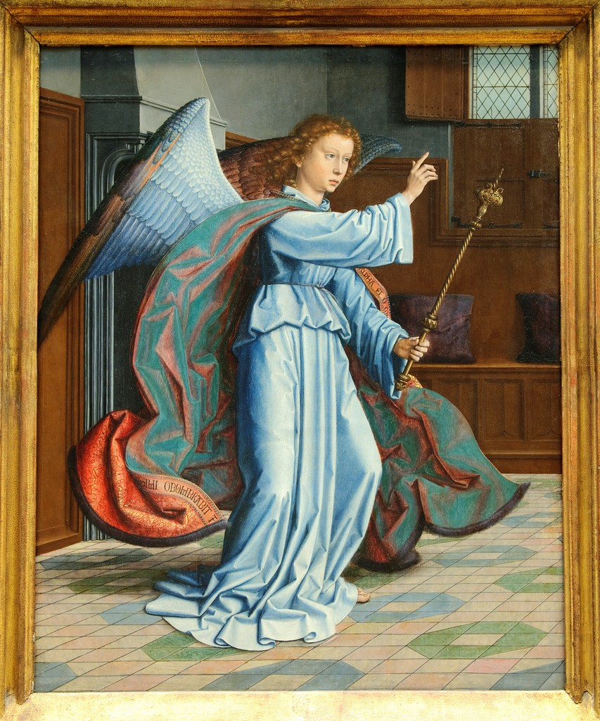 The Annunciation, parts of a polyptych, 1506, by Gerard David, Netherlandish, Oil on wood, Metropolitan Museum of Art, New York City : Stock Photo