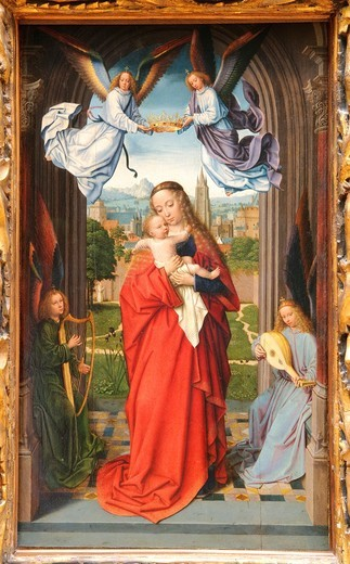 Virgin and Child with Four Angels, ca  1510–15, by Gerard David, Netherlandish, Oil on wood, : Stock Photo