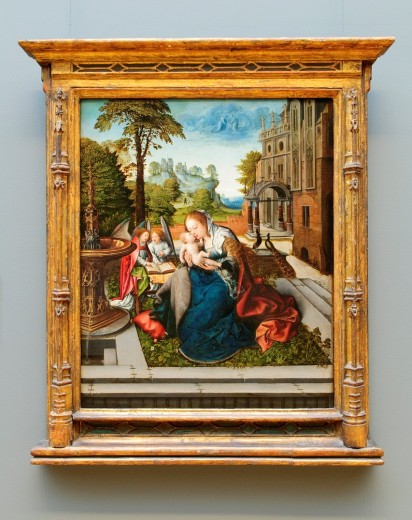 Virgin and Child with Angels, ca  1515, by Bernard van Orley, Netherlandish, Oil on wood, 33 5/8 x 27 1/2 in , 85 4 x 69 9 cm, Metropolitan Museum of Art, New York City : Stock Photo