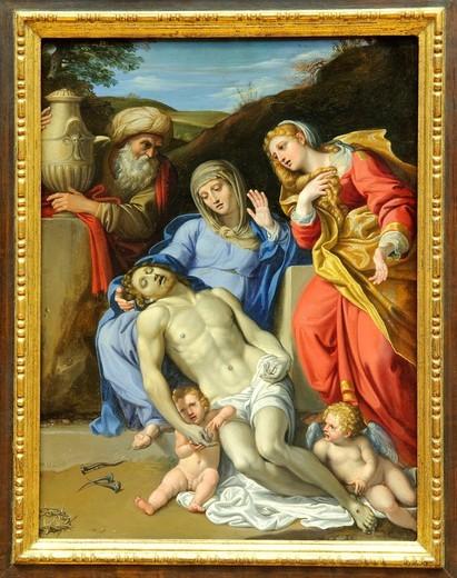 Stock Photo: 1566-773597 The Lamentation, 1603, by Domenichino, Domenico Zampieri, Italian, Oil on copper, 20 7/8 x 14 3/4 in , 53 x 37 5 cm, Metropolitan Museum of Art, New York City,