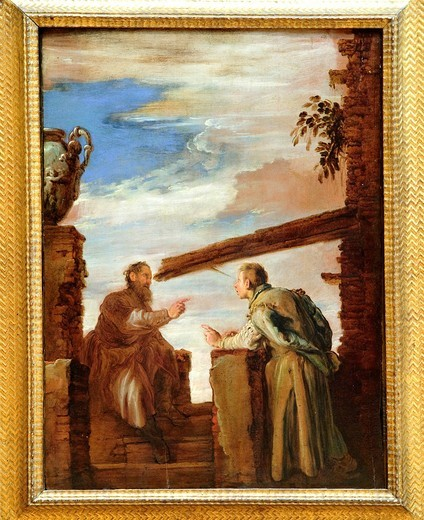 The Parable of the Mote and the Beam, ca  1619, by Domenico Fetti, Italian, Oil on wood, 24 1/8 x 17 3/8 in , 61 3 x 44 1 cm, Metropolitan Museum of Art, New York City : Stock Photo