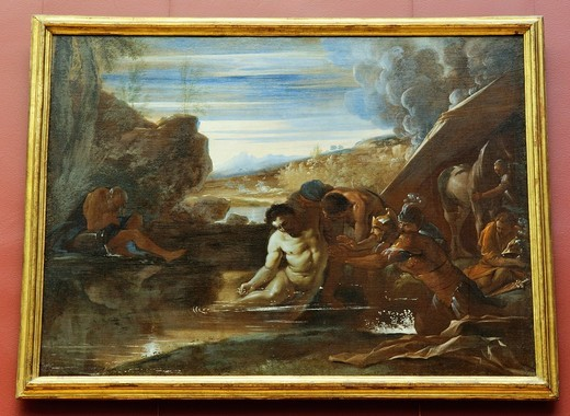 Alexander the Great Rescued from the River Cydnus, by Pietro Testa, Italian, Oil on canvas, 38 x 54 in , 96 5 x 137 2 cm, Metropolitan Museum of Art, New York City : Stock Photo
