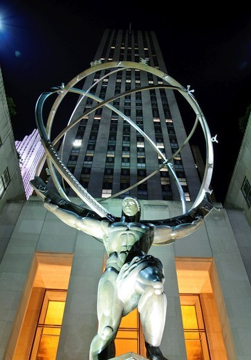 Stock Photo: 1566-773637 Atlas & GE building, Rockefeller center, 5th Avenue, Manhattan, New York City