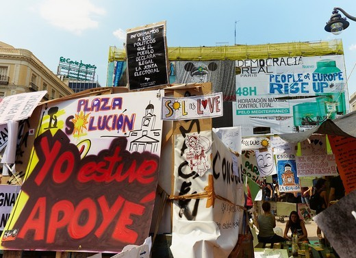 Movement 15M camp at Puerta del Sol, Madrid : Stock Photo