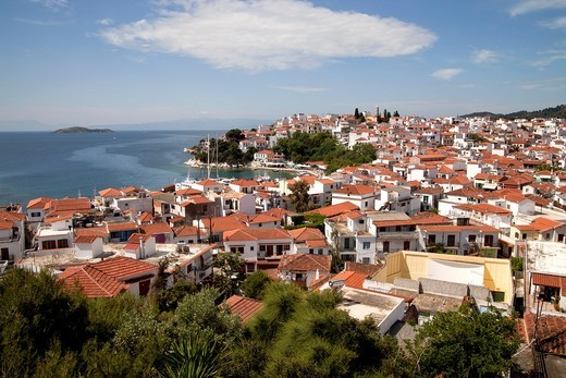 cityscape Skiathos Town on Skiathos Island, Northern Sporades, Greece : Stock Photo