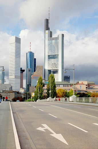 Stock Photo: 1566-774126 Frankfurt, Germany  Financial buildings in Frankfurt city centre  Commerzbank and European Central Bank and Main Tower