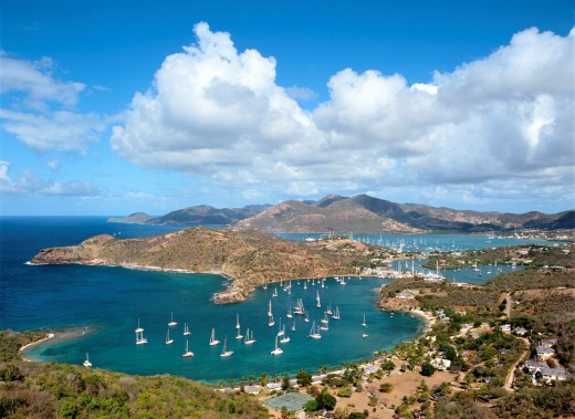 West over English Harbour and Nelson's Dockyard from Shirley Heights on the south coast of Caribbean island of Antigua : Stock Photo