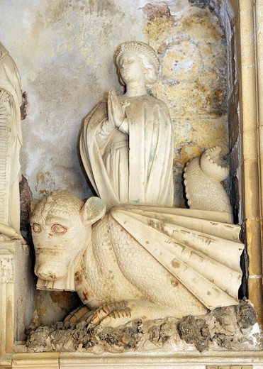 Cathedral of the Holy Saviour, Aix en Provence, France  Detail of Aygosi family stone altar  Dragon with St  Margaret of Antioch : Stock Photo