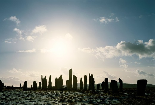 Callanish prehistoric stone circle is over 5000 years old  Scottish Hebrides island of Lewis  Winter sunset : Stock Photo