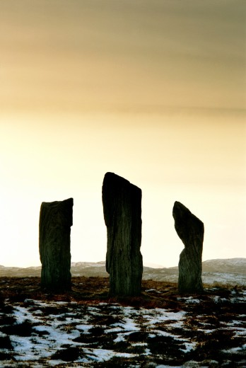 Callanish prehistoric stone circle  Island of Lewis, Outer Hebrides, Scotland  Three of the 5000 year old alignment megaliths : Stock Photo