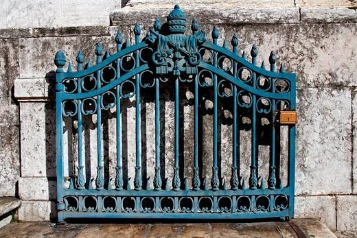 gate, shield Vatican, Lisbon, Portugal : Stock Photo