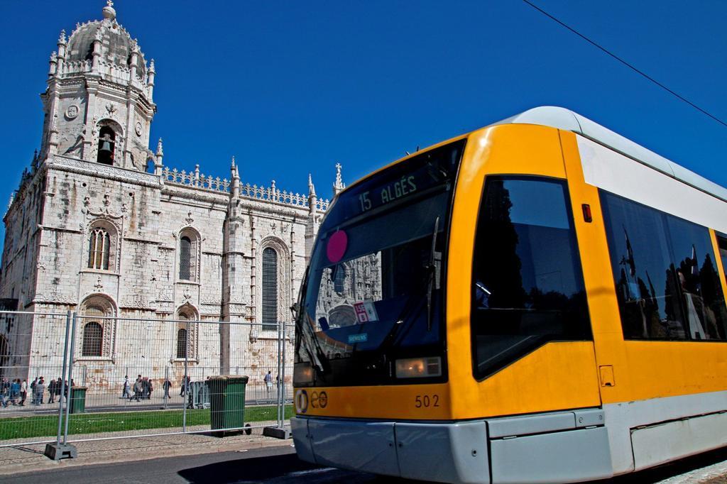 Stock Photo: 1566-775706 tram, Jeronimos Monastery, Belem, Lisbon, Portugal