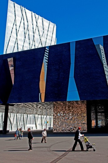 Stock Photo: 1566-775826 Blue Museum and telefonica´s building, Forum site, Barcelona, Catalonia, Spain.