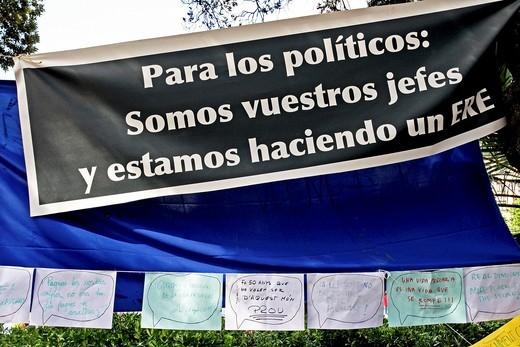 acampada plaza Catalunya, movement of  May 15th, Barcelona : Stock Photo