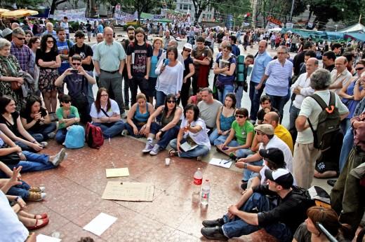 Acampada plaza Catalunya, movement of  May 15th, Barcelona, Catalonia, Spain. : Stock Photo