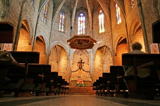 Church of Santa Maria, Gothic, Santa Coloma de Queralt, Catalonia, Spain : Stock Photo