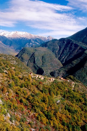 Landscape of the Tinée valley, Alpes-Maritimes, Provence-Alpes-Côte d´Azur, France : Stock Photo