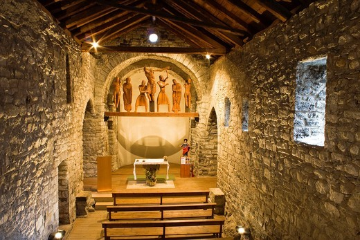 Inside the church of Santa Eulalia in the Romanesque sculptural group of the Descent from the Cross - Erill la Vall - Vall de Boi - Pyrenees - Lleida Province - Catalonia - Cataluña - Spain : Stock Photo