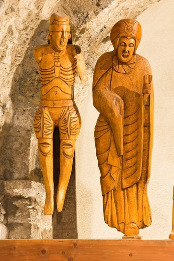 Stock Photo: 1566-777582 Detail of Romanesque sculpture group of the Descent from the Cross Dimas and the Virgin Mary - Iglesia de Santa Eulalia - Erill la Vall - Vall de Boi - Pyrenees - Lleida Province - Catalonia - Spain