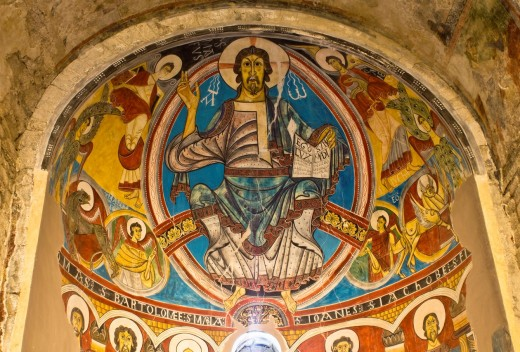 Murals depicting the Pantocrator in the Romanesque church of Santa Maria de Taüll - Vall de Boi - Lleida Province - Catalonia - Cataluña - Spain : Stock Photo