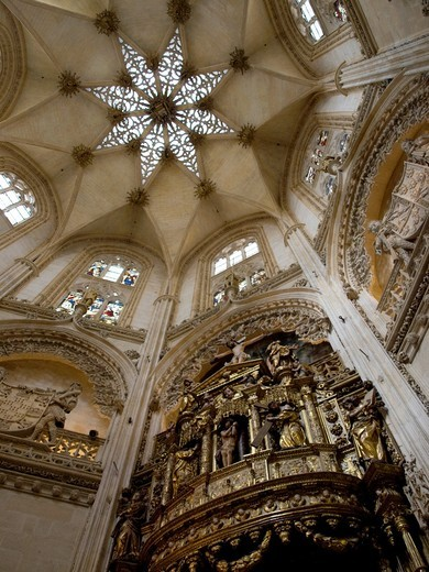 Dome of Chapel of the Condestable in the Gothic Cathedral in Burgos, Castile And León, Spain : Stock Photo