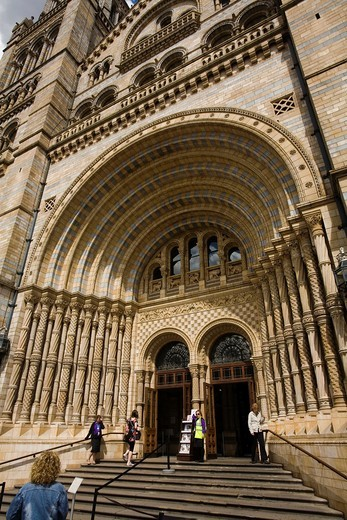 Stock Photo: 1566-778127 Natural History Museum main gate, South Kensington, London, England, Great Britain, Europe.