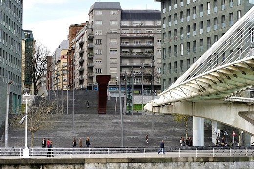 Stock Photo: 1566-778302 Abando Ibarra, Isozaki Towers, Santiago Calatrava bridge, Bilbao