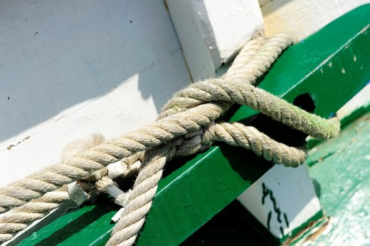 Lanyard attached to a boat : Stock Photo