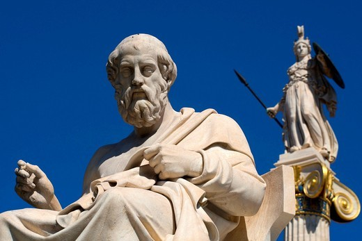 Stock Photo: 1566-779786 Statue of philosopher Plato or Platon and behind him Athena statue goddess of wisdom, warfare and crafts outside of Athens Academy in the center