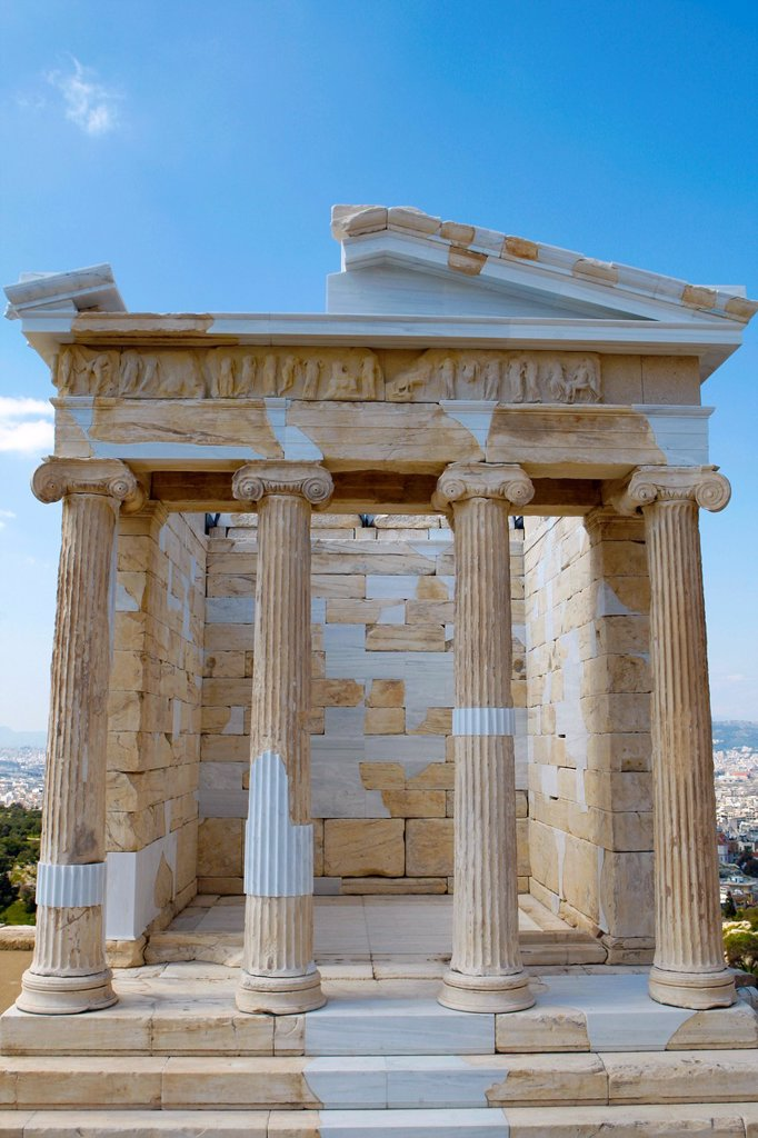 Restored temple of the Athena NikeApteros Nike or Athena Victory  An extensive, internationally acclaimed antiquity conservation and restoration programme has been taking place on the Acropolis of Athens since 1975  The restoration, comprising a number of. Restored temple of the Athena NikeApteros Nike or Athena Victory  An extensive, internationally acclaimed antiquity conservation and restoration programme has been taking place on the Acropolis of Athens since 1975  The restoration, comprising : Stock Photo