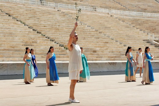 Revival of the Olympic games on modern times in Panathenaikon stadium in Athens : Stock Photo