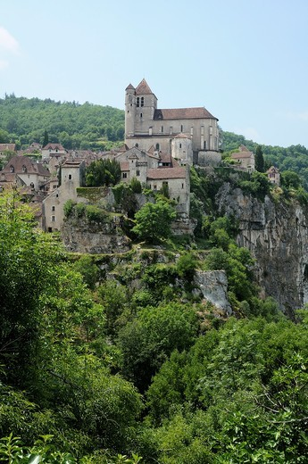 France, Lot  Medieval village of St  Cirq Lapopie : Stock Photo