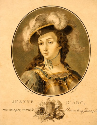 Stock Photo: 1566-780968 Joan of Arc c 1412-1431 on engraving from a 18th century book