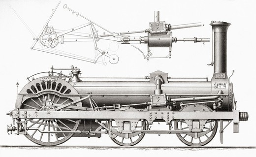 Stock Photo: 1566-781096 Crampton´s Railway Steam Locomotive Engine, 19th century  From Cyclopaedia of Useful Arts and Manufactures by Charles Tomlinson